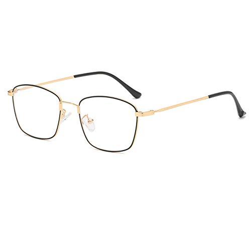 HAIBUHA Brille Retro Rundes Gesicht Golddraht Gläser Rahmen Flache Spiegelglas Dekoration,Goldrahmen Schwarz