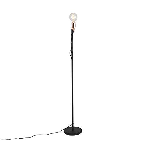 QAZQA Modern Moderne Stehleuchte/Stehlampe / Standleuchte/Lampe / Leuchte schwarz mit Messingakzenten - Slide/Innenbeleuchtung / Wohnzimmer/Schlafzimmer / Küche Metall Länglich LED geeignet - Dimmer Licht Slide