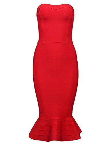 meilun - Robe - Moulante - Sans Manche - Femme Red Hem_2