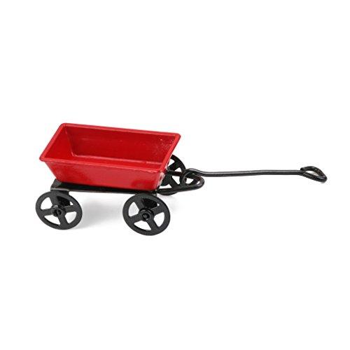 1:12 Puppenhaus Miniatur Garten Metall Warenkorb Rot