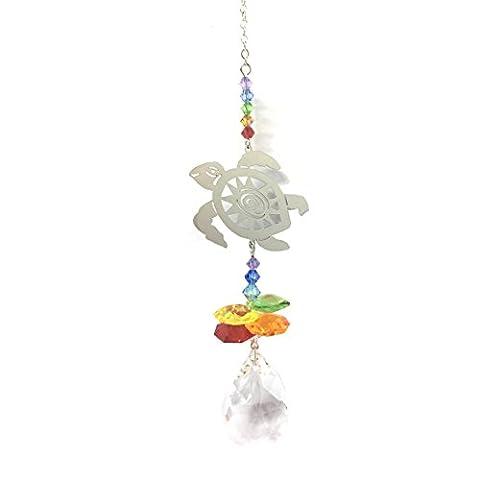 Tortue Attrape-soleil arc-en-ciel Cristal Cascade et cristal Swarovski® Spectra Amande.–à suspendre Cristal