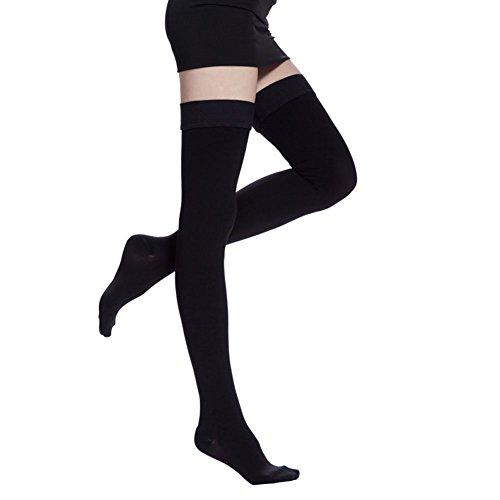 TININNA Medias de compresión médico Clase (20-30mmHg) ,De las mujeres muslo-alta compresión calcetines abierta del calcetines adelgazar las medias de compresión,alivio de dolores, recuperación más rápida,Ultra-Delgada Elástico Transpirable Muslo que Adelgaza los Calcetines de Compresión de la Pierna Masaje Modelador(Negro L)