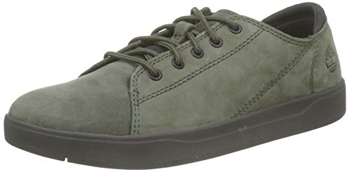 Timberland Davis Square Leather Oxford, Zapatillas Unisex-Niño, Verde (Dark Green Nubuck), 29 EU