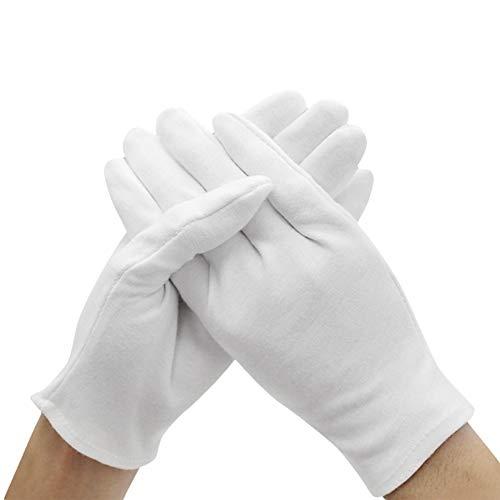 Leisial 12 Paare Weiß Handschuhe - Gloves Verdicken Baumwolle Handschuhe für Polizei Formal Tuxedo Ehrenschutz Parade Kostüm ()