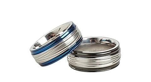 SanJiu Jewelry Stainless Steel Men's Ring Biker Punk Rcoker Classic Stripe Ring Gothic Ring for Men Blue Size N 1/2
