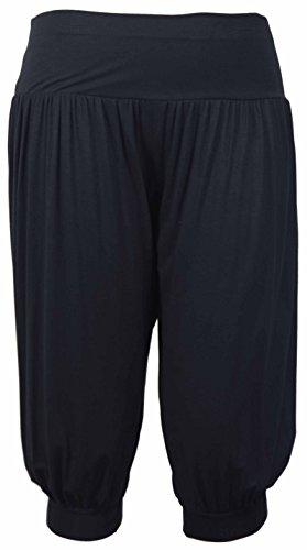 Purple Hanger - Damen Ali Baba Harems Hose Stretch Weite Hosen Kurz Shorts Übergrößen - 44-46, Schwarz