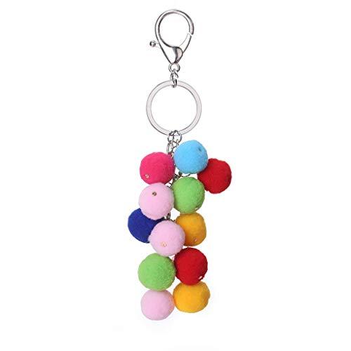 Republe Bunte Plüsch-Kugel-Schlüsselanhänger Frauen-Dame-Beutel-Geldbeutel-Regenbogen-Geschenk Keychain Alloy Schlüsselanhänger Ring