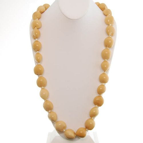Hawaiian Lei Necklace of Blonde Kukui Nuts by Hawaiian Jewelry and Gift