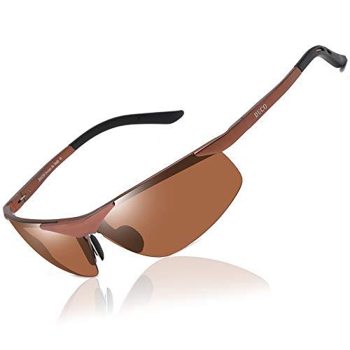DUCO Sport Stil Sonnenbrille Polarisiert Herren Treiber Brille 6806S (Braun/Braun)