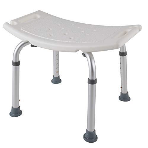 SAILUN Medical Duschhocker Duschstuhl Duschhilfe Duschsitz Badsitz Duschhocker Aluminium & HDPE Höhenverstellbar 38 - 53cm Anti-Rutsch ohne Rückenlehne (Modell 1)