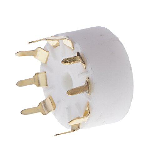 Baoblaze 9 pin Keramik Gold PCB Sockel für Gitarrenverstärker Radio Funkmeldung, Ideal für die Reparatur von Vintage Verstärkern, HAM-Radio, Hifi und mehr