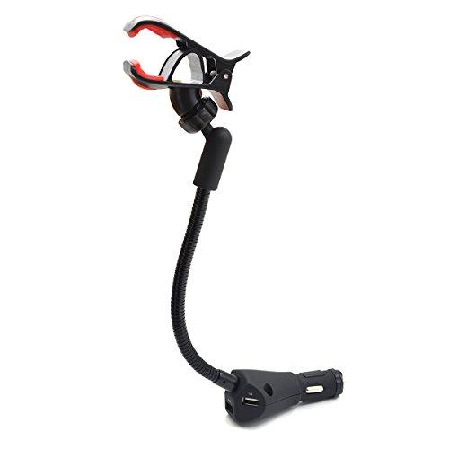 XFAY HX-087 Universal Einstellbar 360° Drehung KFZ Handyhalterung Auto Wiege mit 3 USB Anschlüsse 2.1A Ladegerät/Universal Smartphone-Halterung Auto mit Ladefunktion für iPhone /Handy/Tablet/Andere USB-fähige Geräte (20-fuß-handy-ladegerät)