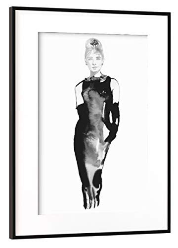 artboxONE Poster mit Rahmen Schwarz (Metallic) 60x40 cm Lady Audrey von Sarah Plaumann - gerahmtes Poster