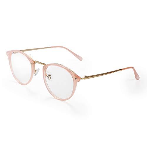 Aroncent Brillengestell für Damen mit transparenten Brillengläsern, sehr leicht, Farbe wählbar Rosa - Brillengestell