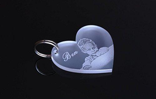 Preisvergleich Produktbild Schlüsselanhänger Herz Partner-Liebes-Geschenk aus hochwertigem Acryl mit Text-Namens-Gravur, eine schöne Geschenkidee zum Muttertag / Vatertag / Valentinstag / zur Hochzeit / zum Geburtstag / zur Taufe o.a. Anlässen individuelle-personalisierte-Geschenkideen