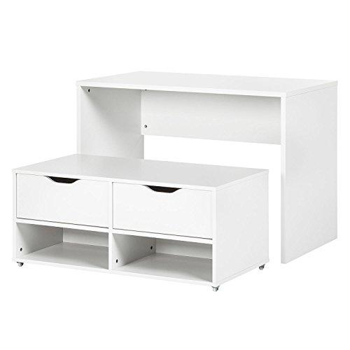 Platzwunder Schreibtisch Esstisch Kommode Tisch Set Bank Sitzbank Küchentisch weiß
