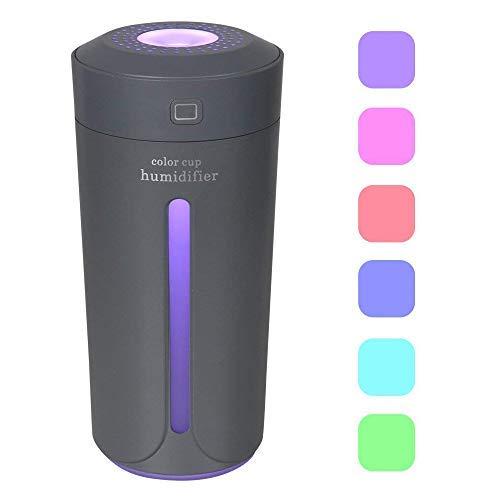 Dricar 230ml Ambientador Humidificador Coche - Humidificador Aromaterapia USB, Purificar el Aire y Mejorar el Aire Seco y Sofocante, Dormitorio, Hogar, Oficina, Coche(Gris)