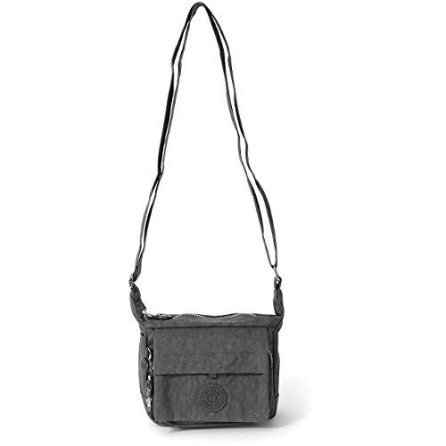 Handtasche Abendtasche grau Nylon Schultertasche Damen Crossover Handtasche Bag Street OTJ232K (Sportliche Nylon Handtasche)
