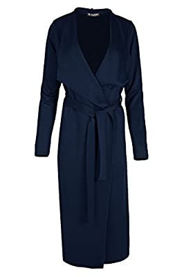 Womens Duster Waterfall Tie Belt Italian Cape Ladies Cardigan Maxi Trench Coat by BE JEALOUS