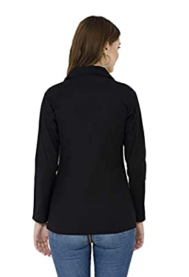 Ambrosial Women Single Breasted Formal Blazer (Large, Black)