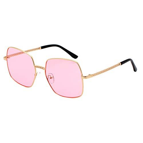 Lazzboy Polarisierte Sonnenbrille Für Frauen Mann Verspiegelte Linse Mode Brille Brillen Gradient Lens Quadrat übergroße Weibliche(Rosa)