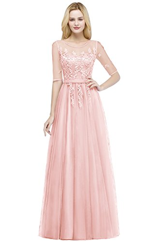 Damen Prinzessin A-Linie Tüll Abschlusskleid Abiballkleid Applikation rückenfrei lang Rosa 38