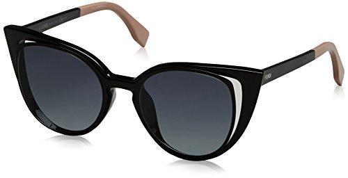 Fendi ff 0136/s, occhiali da sole donna, nero (mt shy black), 51