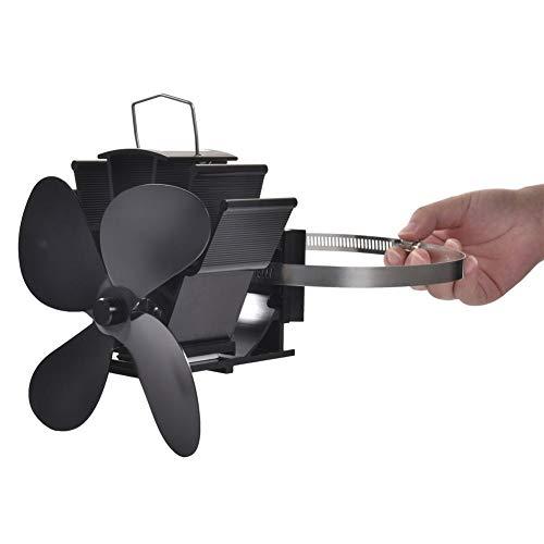 Ploufer Ventilador de Estufa de 4 Palas Alimentado por Calor, Ventilador de...