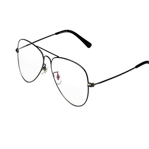 OUTEYE Unisex Dekobrille Fein Metallrahmen Nerdbrille Dekogläser Klassisches Flieger Rahmen Glasses