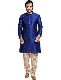 Shahzada Men's Solid Straight Kurta(Blue)