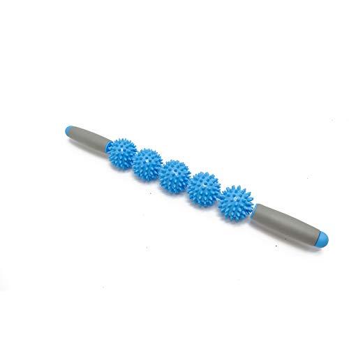 Sunnybluee anti cellulite massager stick anti-cellulite trigger point stick corpo gamba viso gamba dimagrante massaggio rullo muscolare blu 5 palla