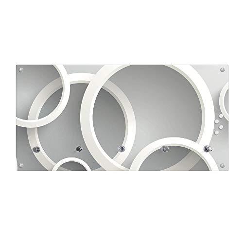 banjado Wandgarderobe aus Echtglas | Design Garderobe 80x40x6cm groß | Paneel mit 5 Haken | Flurgarderobe für Jacken und Mäntel | Garderobenleiste mit Motiv Weiße Ringe