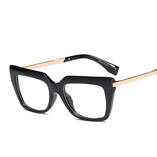 DING-GLASSES Gläser Mode Brillen for Frauen Retro Flat Mirror Large Frame Brillen können mit Myopie Frame Brillen ausgestattet Werden (Color : Black1)