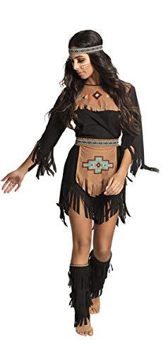 Halloweenia - Damen Frauen Kostüm Kurzes Indianer Kleid -
