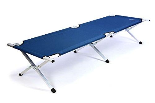 XXL Faltbett 210x75 cm - ALU Feldbett - Campingliege in 3 modische Farben (Blau)