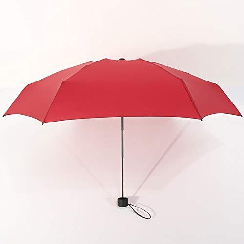 SQYSHOP Mini Taschenschirm Frauen UV Kleine Regenschirme 180g Regen Frauen Wasserdicht Männer Sonnenschirm Bequem Mädchen Reise Parapluie Kid , Wein rot-China