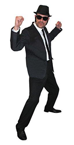 ILOVEFANCYDRESS MÄNNER Schwarzen Hosenanzug=Soul SÄNGER= Das Perfekte KOSTÜM FÜR Jede Art der KOSTÜMIERUNG = BEINHALTET -Anzug+Hut+Krawatte+Brille+SEITENKOTLETTEN=Small+HUT/58cm