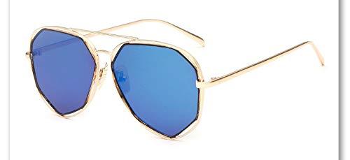 Sonnenbrille,Neue Big Frame Brille Männer Frauen Sonnenbrille Vintage Goggles Sommer Style Designer Sonnenbrille Gold Blau
