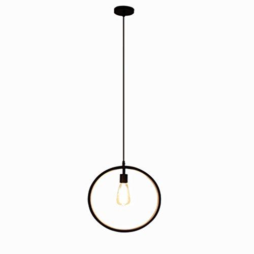 Vintage Industrielle Lampe Suspension Lustre Plafond Métal Noir Originale Simple Style - Cercle