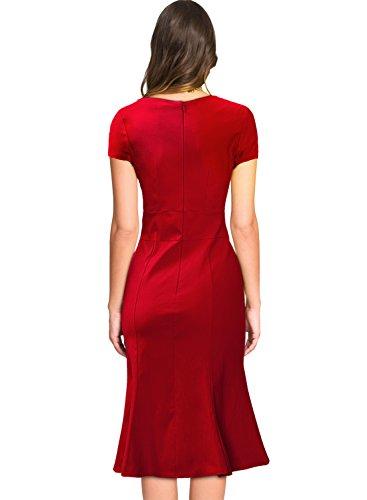 Miusol Damen Kurzarm Vintage Business Schleife Cocktailkleid Fishtail 1950er Jahre Kleid Rot Groesse 46/XXL -