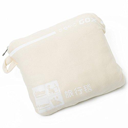 GOX Cozy-Soft Travel Blanket with Pocket / Bamboo Fiber Blanket / Organic Fabric Blanket (Creamy White)