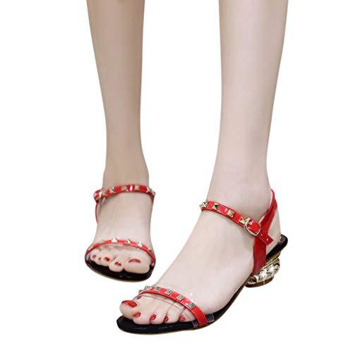 Deloito 2019 Sommer Damen Mädchen Mode Sandaletten Flache Nietschnalle Sandalen Mädchen Strasssteine Römischen Sneaker Strandschuhe (Rot,36 EU)