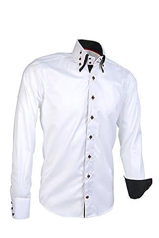 Giorgio Capone Herrenhemd, 100% Baumwolle, weiß, Button-Down Doppelkragen, Langarm, Slim & Regular Fit (XL Reg mit (Easy Care Leinenhemd)