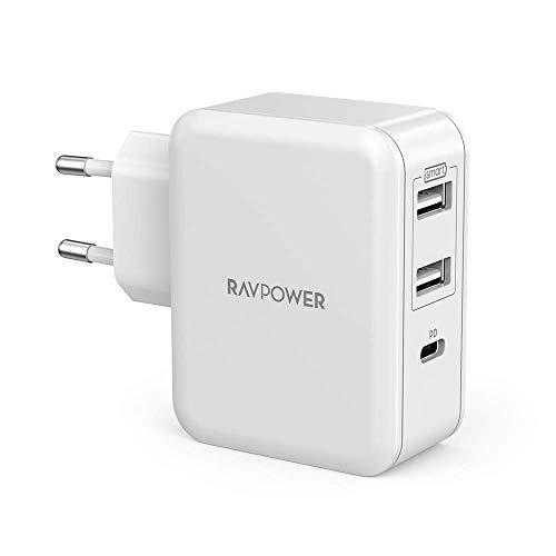 RAVPower USB C Ladegerät 33W Ladeadapter, 3 Port USB Ladegerät mit 18W Power Delivery 3.0 für iPhone X XR XS Max 8 Plus, iPad Pro 2018, Galaxy S10/S9/S9+/S8, Huawei P20 P30, HTC, Powerbank usw