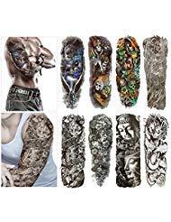 Moda Tatuajes Temporales Transferencia Pegatinas–8hojas tamaño brazo tatuaje cuerpo pegatinas para hombre y mujer impermeable extraíble non-toxics y seguro para todos los de la piel