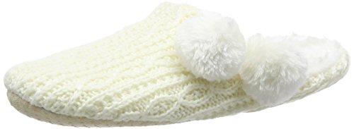 Eaze Damen Cable Knit Fur Pom Hausschuhe Beige (Cream) 41/42 EU - Cream Cable Knit