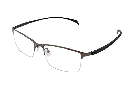 XYAS Rechteck Herren Metall Lesebrille klare linse Brillenfassungen (Halbrahmen 1, 3650 Silber-Schwarz)