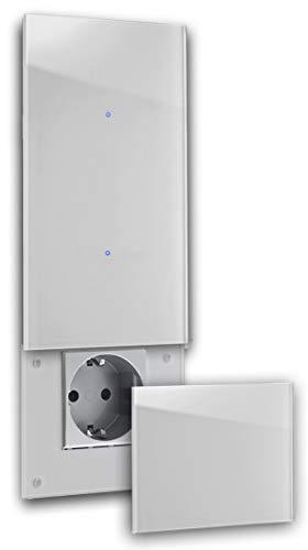 ROHDE+ROHDE Touch Schalter-Steckdosen Kombination 230V + Abdeckung Klappe