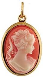 1001 Bijoux – Ciondolo placcato oro a forma ovale, modello cammeo, grande, colore: Rosa