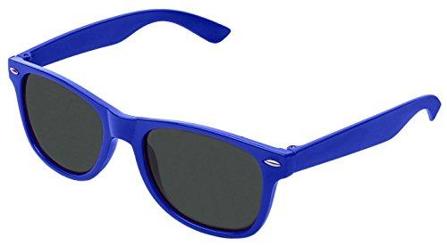 retroUV® - Wohnung Revo Farbe Objektiv Große Horn umrandeten Stil Sonnenbrille Inklusive Tasche - UV400, Dunkelblau Tönung,